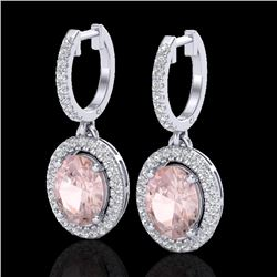 3.25 CTW Morganite & Micro Pave VS/SI Diamond Earrings Halo 18K White Gold - REF-129T6X - 20328