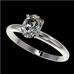1 CTW Certified VS/SI Quality Oval Diamond Solitaire Ring 10K White Gold - REF-297R2K - 32894