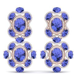 33.11 CTW Royalty Tanzanite & VS Diamond Earrings 18K Rose Gold - REF-618H2W - 39319