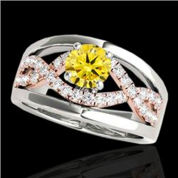 1.3 CTW Certified Si Fancy Yellow Diamond Solitaire Ring 2 Tone 10K White & Rose Gold - REF-180F2M -