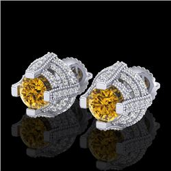 2.75 CTW Intense Fancy Yellow Diamond Micro Pave Stud Earrings 18K White Gold - REF-236T4X - 37630