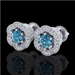 1.51 CTW Fancy Intense Blue Diamond Art Deco Stud Earrings 18K White Gold - REF-178X2T - 37964
