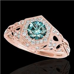 1.4 CTW SI Certified Fancy Blue Diamond Solitaire Antique Ring 10K Rose Gold - REF-176N4Y - 34181