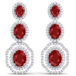 17.51 CTW Royalty Designer Ruby & VS Diamond Earrings 18K White Gold - REF-345X5T - 39204