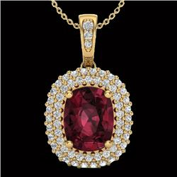 2.60 CTW Garnet & Micro Pave VS/SI Diamond Certified Halo Necklace 10K Yellow Gold - REF-65M5F - 204