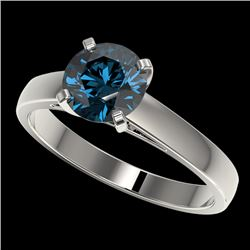 1.50 CTW Certified Intense Blue SI Diamond Solitaire Engagement Ring 10K White Gold - REF-254F5M - 3