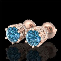 2.04 CTW Fancy Intense Blue Diamond Art Deco Stud Earrings 18K Rose Gold - REF-209N3Y - 38098