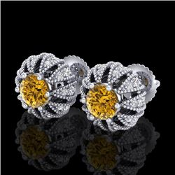 2.01 CTW Intense Fancy Yellow Diamond Art Deco Stud Earrings 18K White Gold - REF-210R9K - 37735