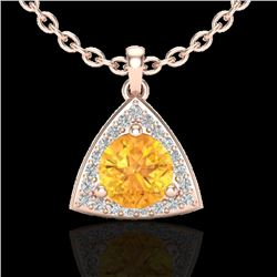 1.50 CTW Citrine & Micro Pave Halo VS/SI Diamond Necklace 14K Rose Gold - REF-33Y5N - 20520