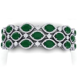 52.84 CTW Royalty Emerald & VS Diamond Bracelet 18K White Gold - REF-1181K8R - 38886