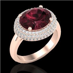 4.50 CTW Garnet & Micro Pave VS/SI Diamond Certified Ring 14K Rose Gold - REF-89K6R - 20915