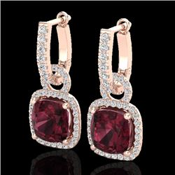 7 CTW Garnet & Micro Pave VS/SI Diamond Certified Earrings 14K Rose Gold - REF-92K2R - 22964