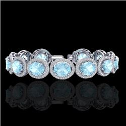23 CTW Aquamarine & Micro Pave VS/SI Diamond Certified Bracelet 10K White Gold - REF-436M4F - 22680