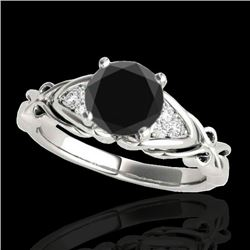 1.1 CTW Certified Vs Black Diamond Solitaire Ring Two Tone 10K White Gold - REF-53M3F - 35203