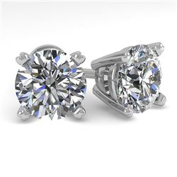 3 CTW Certified VS/SI Diamond Stud Earrings 14K White Gold - REF-921F3M - 38380