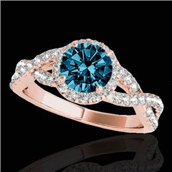 1.54 CTW SI Certified Fancy Blue Diamond Solitaire Halo Ring 10K Rose Gold - REF-170T4X - 33793
