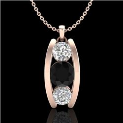 1.07 CTW Fancy Black Diamond Solitaire Art Deco Stud Necklace 18K Rose Gold - REF-94F5M - 37773