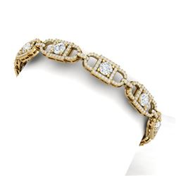 9 CTW Certified SI/I Diamond Halo Bracelet 18K Yellow Gold - REF-804W5H - 40141