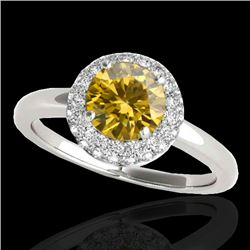 1.43 CTW Certified Si Fancy Intense Yellow Diamond Solitaire Halo Ring 10K White Gold - REF-169R3K -