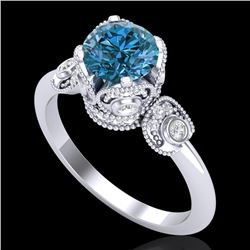 1.75 CTW Fancy Intense Blue Diamond Solitaire Art Deco Ring 18K White Gold - REF-236T4X - 37404