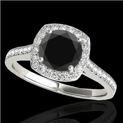 1.4 CTW Certified Vs Black Diamond Solitaire Halo Ring 10K White Gold - REF-61T3X - 34187