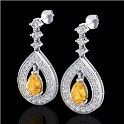 2.25 CTW Citrine & Micro Pave VS/SI Diamond Earrings Designer 14K White Gold - REF-99W8H - 23148