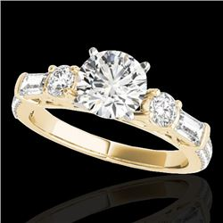 2 CTW H-SI/I Certified Diamond Pave Solitaire Ring 10K Yellow Gold - REF-221R8K - 35473
