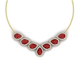 34.72 CTW Royalty Ruby & VS Diamond Necklace 18K Yellow Gold - REF-690H9W - 38831