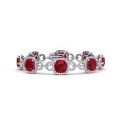 25 CTW Ruby & VS/SI Diamond Certified Bracelet 14K White Gold - REF-457T3X - 23028