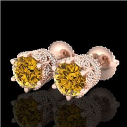 2.04 CTW Intense Fancy Yellow Diamond Art Deco Stud Earrings 18K Rose Gold - REF-209W3H - 38100