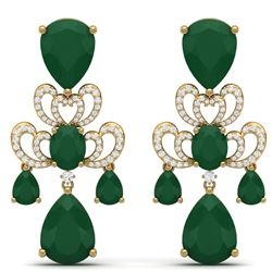 58.73 CTW Royalty Emerald & VS Diamond Earrings 18K Yellow Gold - REF-636N4Y - 38672