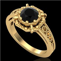1 CTW Fancy Black Diamond Solitaire Engagement Art Deco Ring 18K Yellow Gold - REF-100X2T - 37445