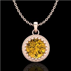 1 CTW Intense Fancy Yellow Diamond Solitaire Art Deco Necklace 18K Rose Gold - REF-158K2R - 37491