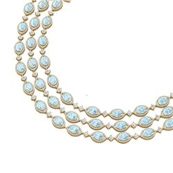 84.57 CTW Royalty Sky Topaz & VS Diamond Necklace 18K Yellow Gold - REF-1436Y4N - 38954