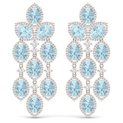 34.25 CTW Royalty Sky Topaz & VS Diamond Earrings 18K Rose Gold - REF-450Y2N - 38935