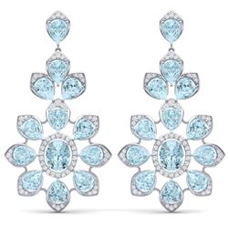 53.34 CTW Royalty Sky Topaz & VS Diamond Earrings 18K White Gold - REF-381W8H - 39054