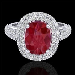 3.50 CTW Ruby & Micro Pave VS/SI Diamond Certified Halo Ring 18K White Gold - REF-143R6K - 20721