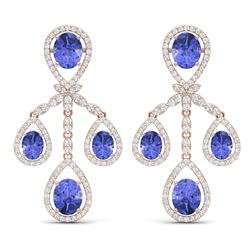 24.89 CTW Royalty Tanzanite & VS Diamond Earrings 18K Rose Gold - REF-563W6H - 38584