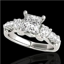 1.75 CTW VS/SI Certified Princess Diamond 3 Stone Ring 10K White Gold - REF-394X9T - 35358