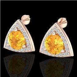 3 CTW Citrine & Micro Pave Halo VS/SI Diamond Stud Earrings 14K Rose Gold - REF-51R6K - 20184