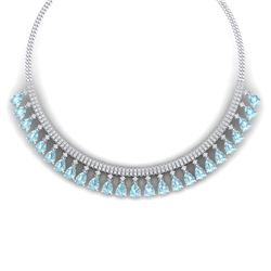 43.05 CTW Royalty Sky Topaz & VS Diamond Necklace 18K White Gold - REF-854W5H - 38880