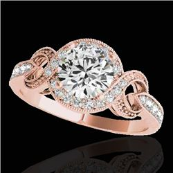 1.33 CTW H-SI/I Certified Diamond Solitaire Halo Ring 10K Rose Gold - REF-159K6R - 33806