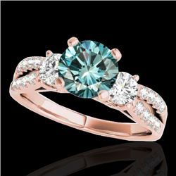 1.75 CTW SI Certified Fancy Blue Diamond 3 Stone Ring 10K Rose Gold - REF-216Y4N - 35418