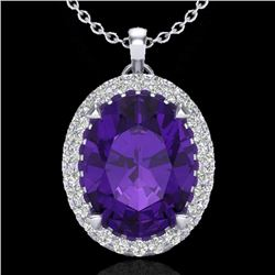 2.75 CTW Amethyst & Micro VS/SI Diamond Halo Solitaire Necklace 18K White Gold - REF-46H2W - 20576