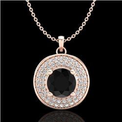1.25 CTW Fancy Black Diamond Solitaire Art Deco Stud Necklace 18K Rose Gold - REF-83X6T - 38137
