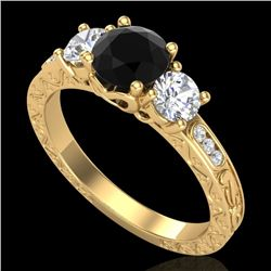 1.41 CTW Fancy Black Diamond Solitaire Art Deco 3 Stone Ring 18K Yellow Gold - REF-138R2K - 37760