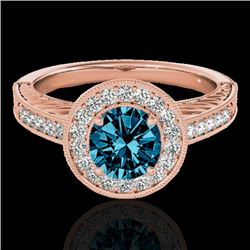 1.5 CTW SI Certified Fancy Blue Diamond Solitaire Halo Ring 10K Rose Gold - REF-200R2K - 33748