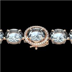 60 CTW Aquamarine & Micro Pave VS/SI Diamond Halo Bracelet 14K Rose Gold - REF-616T8X - 22251