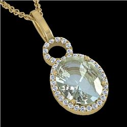 3 CTW Aquamarine & Micro Pave Halo VS/SI Diamond Necklace 14K Yellow Gold - REF-61H8W - 22755