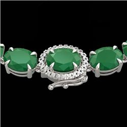 92 CTW Emerald & VS/SI Diamond Tennis Micro Pave Halo Necklace 14K White Gold - REF-270T2X - 23458